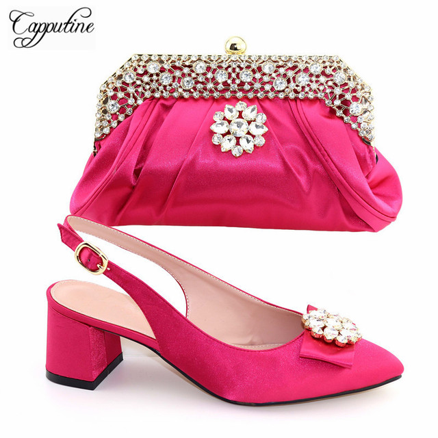 2019 Italian Design Summer Shoes And Matching Bag Set For Party African  Rhinestone Women Middle Heels Shoes And Bag Set TX-562 0653336c629d