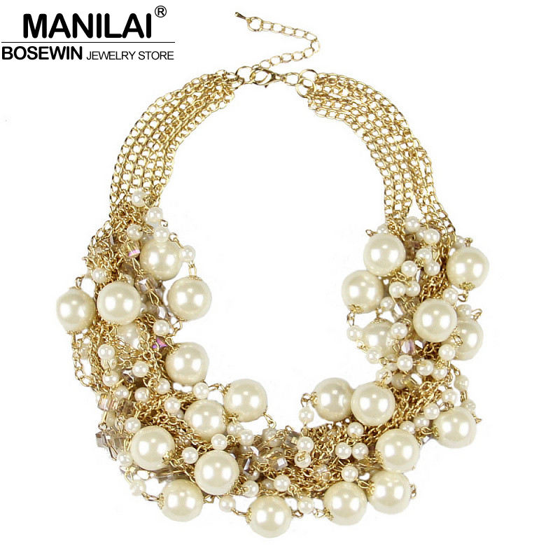 MANILAI Fashion MultiLayers Chain Cross imitation Pearls Rhinestone Beads Choker Statement Necklaces Women Bijouterie Collier|necklace set|necklace couplenecklace pearl - title=