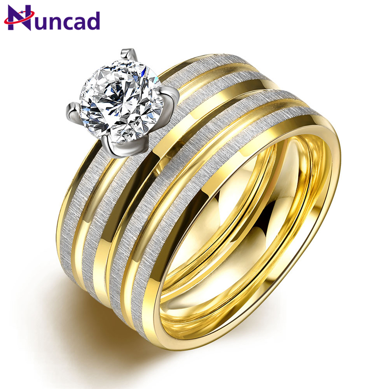 Wanita 2PCS / 1SET Titanium Steel Golden Wedding Engings Rings Bague Homme Bagues Anel Falange Bayan Yuzuk US Ukuran 6-9 Perhiasan
