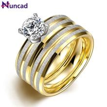 Women 2PCS/1SET Titanium Steel Golden Marriage Engagement Rings Bague Homme Bagues Anel Falange Bayan Yuzuk US Size 6-9 Jewelry