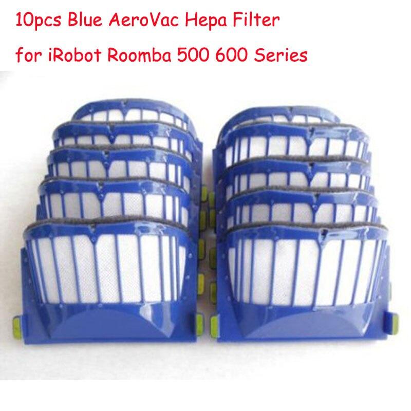 US $9 99 20% OFF|10 pcs Blue AeroVac Hepa Filter for iRobot Roomba 650 528  536 536 620 630 595 Vacuum Cleaner replaceme Parts 500 600 Series-in Vacuum