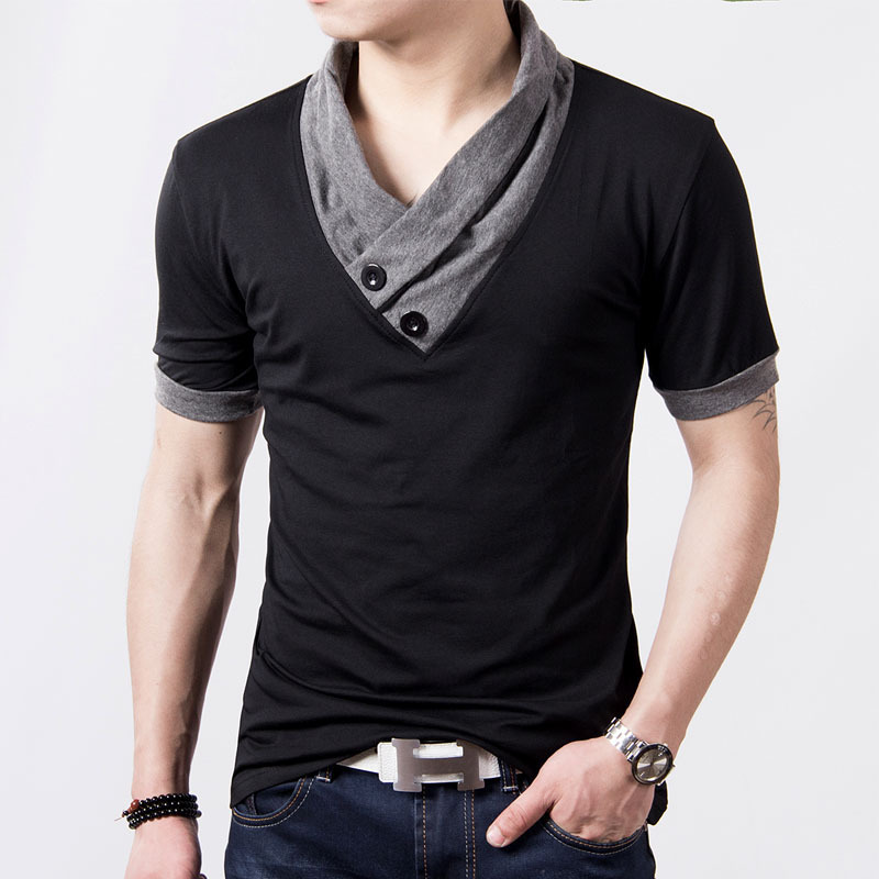 Fashion Slim Fit Casual Designer Mens Short Sleeve V neck T shirt ...