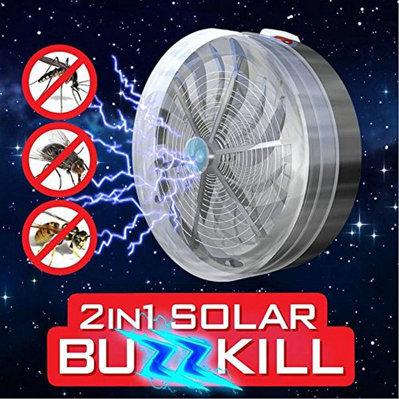 2018 New Solar Buzz Mosquito Killer UV Light Lamp Fly Insect Bug Home Pest Kill Zapper Outdoor Indoor Travel Device Repeller