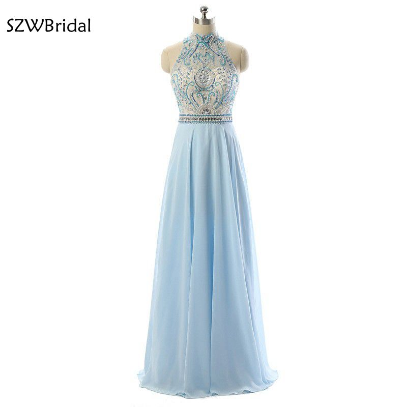 Fashion High Neck Chiffon   Evening     dresses   2019 Backless Formal   dress     evening   party Vestido de festa   Evening   gown Plus size