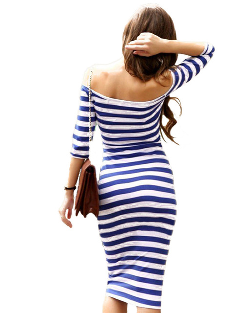 Summer Dress Sexy Knee Length Striped Half Sleeve