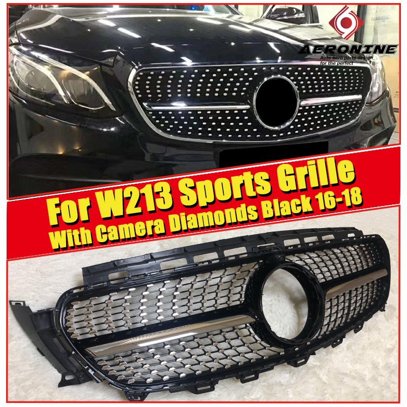 W213 E63 look Diamonds Grille ABS glossy Black With camera E class sports 4-doors E180 E200 E250 E350 Front Bumper grills 16-18 image