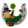 Irish Christmas elf resin hanging ornament with personalized glossy horseshoe as craft souvenir for gift or home decoration