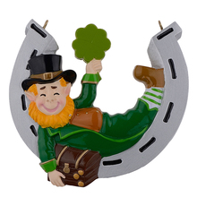 Irish Elf with Horseshoe Best Luck Personalized Ornament