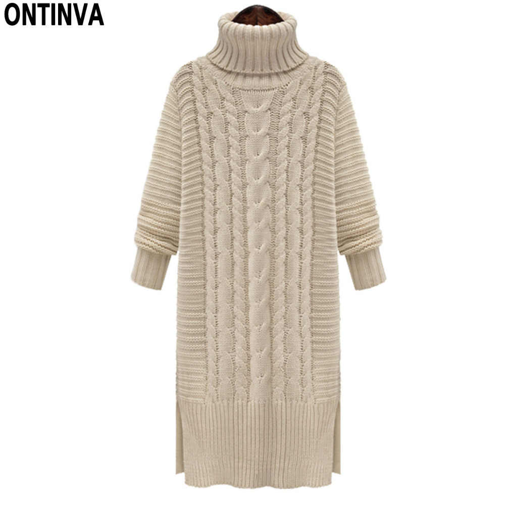 Twist Pattern Turleneck Long Sweater Dress Fashion Split Woman Knitted Slim Winter Solid Thick Split Sweater Dress Design 2019