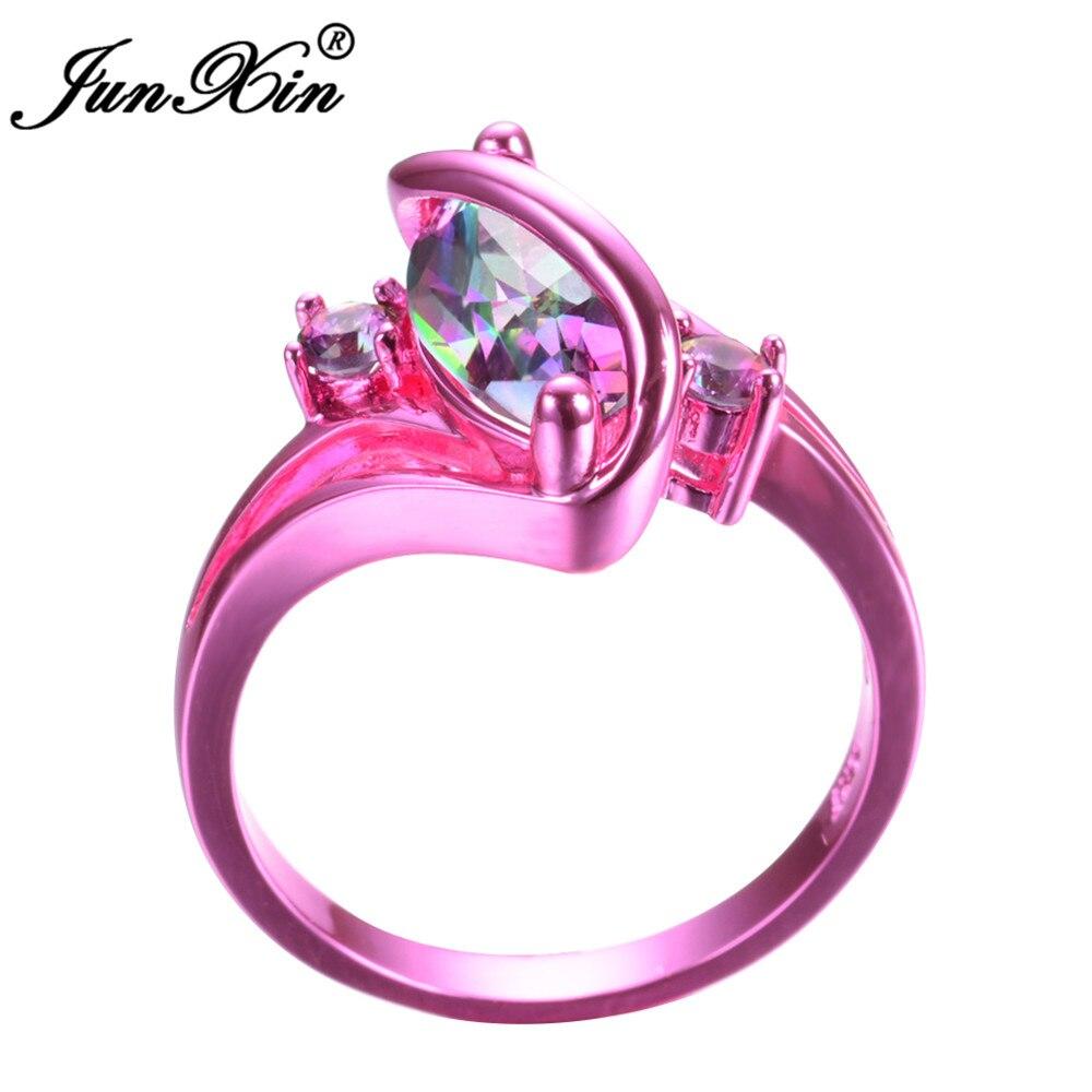 JUNXIN 2017 Newest Mystery Women Rainbow Ring Pink Gold Filled ...