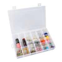 OUNONA 36-Grid Clear Hard Plastic Adjustable Jewelry Organizer Box Storage Container Case With Removable Dividers