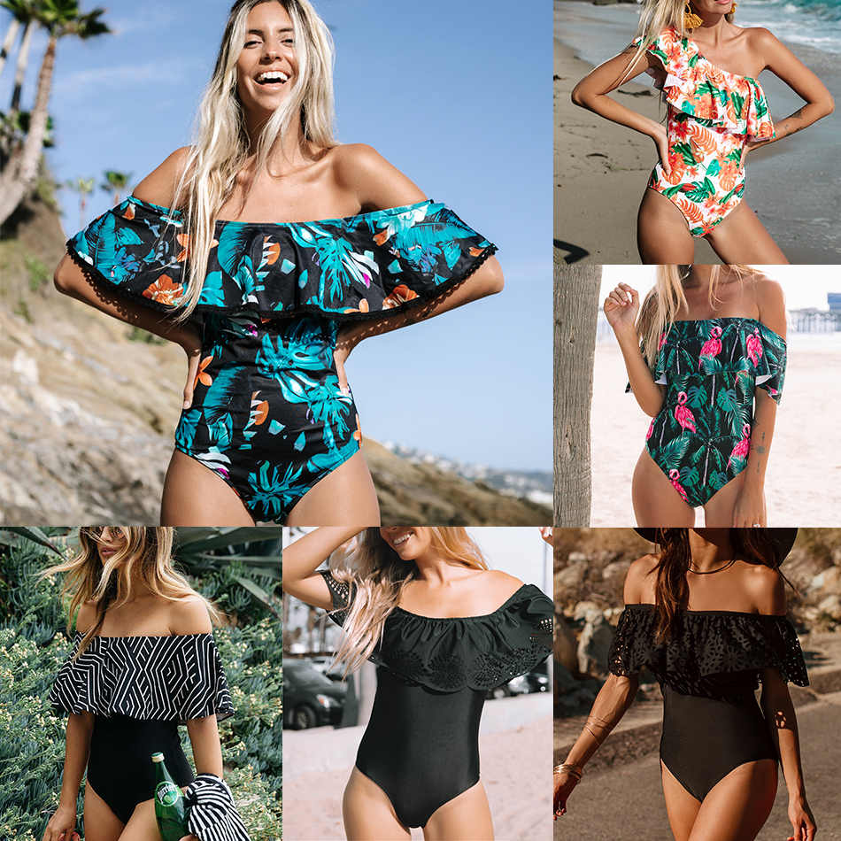2018 Sexy One Piece Swimsuit Classic Off Shoulder Women Swimwear Ruffle Monokini Retro Black Bodysuit Vintage Bathing Suit Girls-in Body Suits from Sports & Entertainment on Aliexpress.com | Alibaba Group