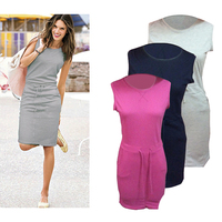 Leisure Straight Casual Women Dress O Neck Brief Style Sleeveless Dress Spring Summer Women Dress Hot