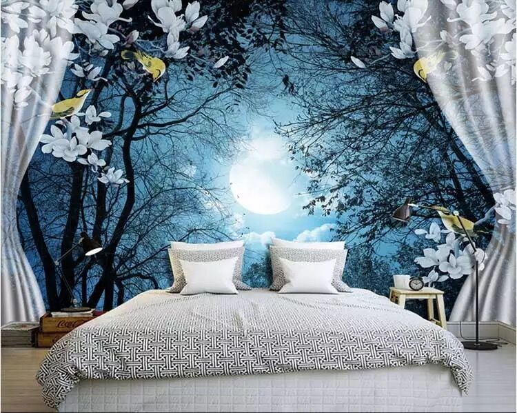 Large mural Wall paper for sofa Background Purple cherry trees Birds 3d Photo Murals Wallpaper 3d Papel Murals papel de parede large mural water drop 3d wall photo murals wallpaper for sofa background 3d murals wall paper 3d wall mural