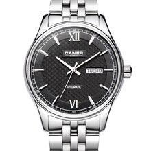Casima мужские часы из нержавеющей стали сапфир автоматические self-ветер бизнес мода наручные часы календарь водонепроницаемый 100 м # 6808