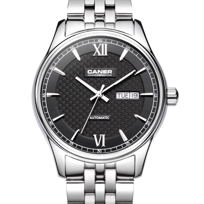 CASIMA montre pour hommes en acier inoxydable saphir automatique auto-vent affaires de mode montres-bracelet calendrier étanche 100 m #6808