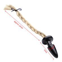 Unisex Blondie Pony Tail Butt Plug, Fetish Animal Role Play Horse Anal Plug Tail, 50cm Long Silky Tail, Sex Toys, Sex Products