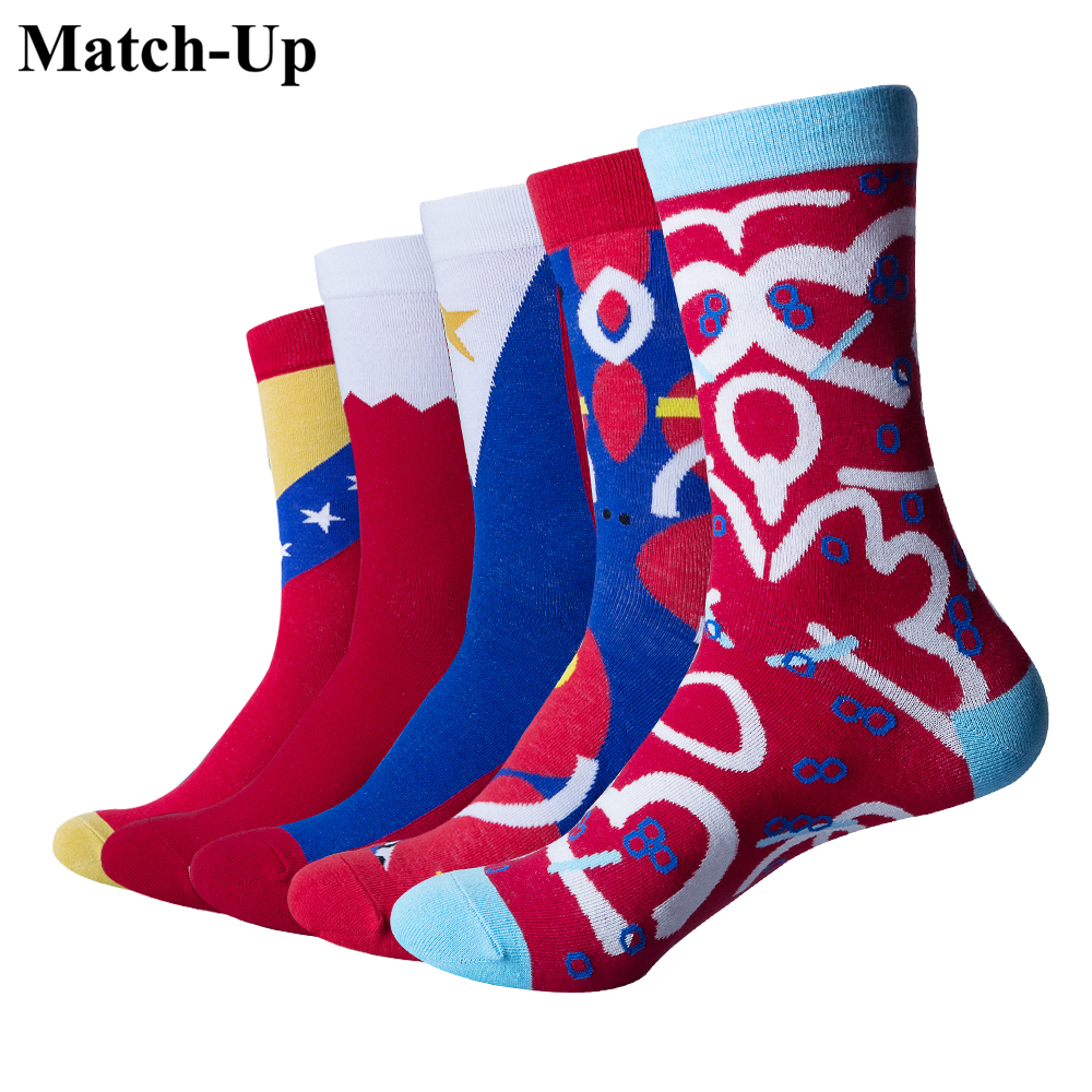 5 Pairs/lot Unequal In Performance Match-up Men Cotton Socks Red Theme Socks Christmas Gifts