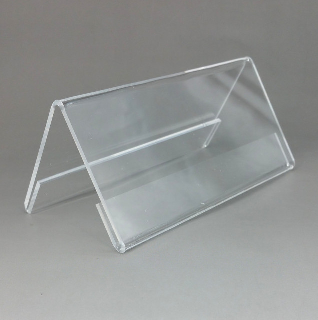 150x60mm Plastic Clear Acrylic T2mm Sign Display Promotion Paper Card Label Name Holder Stand On Table
