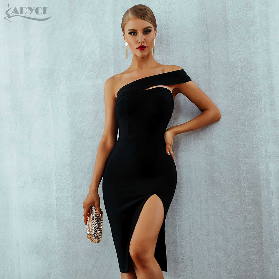 fd292765e09 Adyce Bodycon Bandage Dress Women Vestidos Verano 2019 Summer Sexy Elegant  White Black One Shoulder Midi