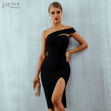 Adyce Bodycon Bandage Dress Vestidos Verano 2018 Summer Women Sexy Elegant White Black One Shoulder Midi Celebrity Party Dresses