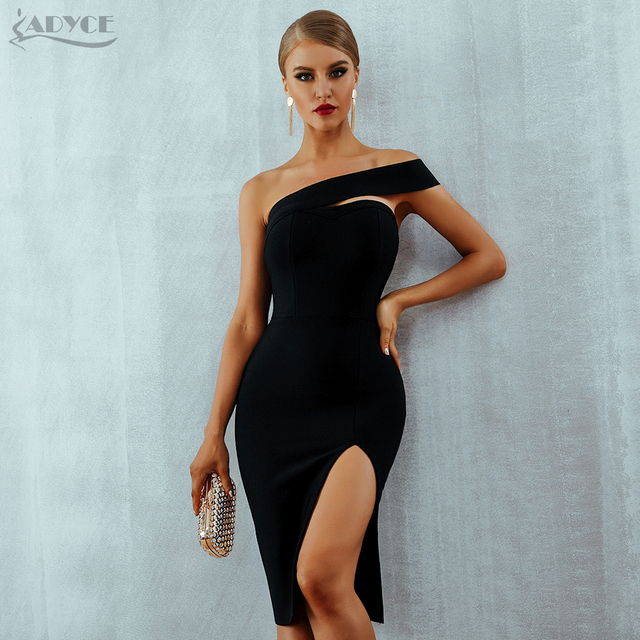 bb9bcc33e4f5a US $29.16 25% OFF|Adyce Bodycon Bandage Dress Women Vestidos Verano 2019  Summer Sexy Elegant White Black One Shoulder Midi Celebrity Party  Dresses-in ...