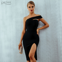Adyce Bodycon Bandage Dress Women Vestidos Verano 2019 Summer Sexy Elegant White Black One Shoulder Midi Celebrity Party Dresses