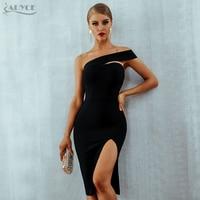 Adyce White Bodycon Bandage Dress Women Vestidos 2019 Summer Sexy Elegant Black One Shoulder Midi Celebrity Runway Party Dresses
