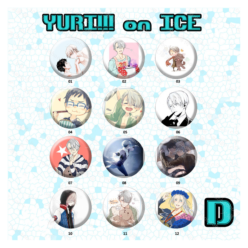 12pcs/set Full Set Yuri!!! on Ice Nikiforov Victor Katsuki Yuri Plisetsky Characters Badge Cloth Bag Deco Badge Brooch