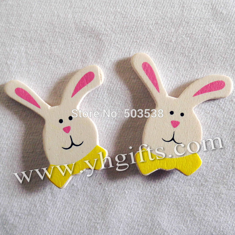 100PCS/LOT.Wood white rabbit stickers,3.5x4cm.Kids toys,scrapbooking kit,Early educational DIY.Kindergarten crafts.Classic toy
