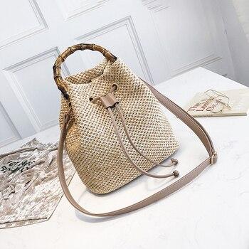 Drawstring Women's Straw Bucket Bag Summer Woven Shoulder Bags Shopping Purse Beach Handbag Straw Handbags Travel Bag 1