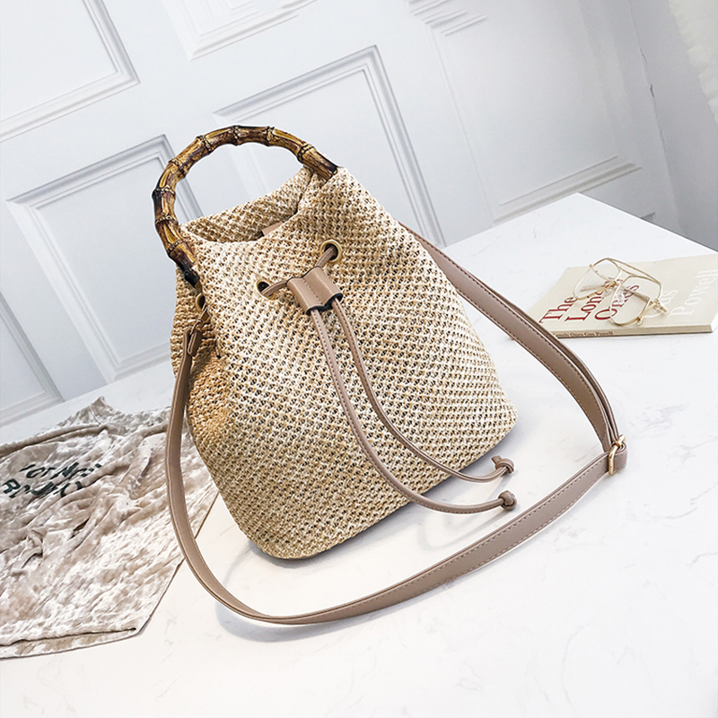 Drawstring Women's Straw Bucket Bag Summer Woven Shoulder Bags Shopping Purse Beach Handbag Straw Handbags Travel Bag