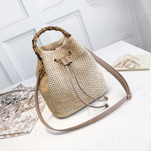 2c052bf380ef HCH-New Drawstring Women s Straw Bucket Bag Summer Woven Shoulder Bags  Shopping Purse Beach Handbag
