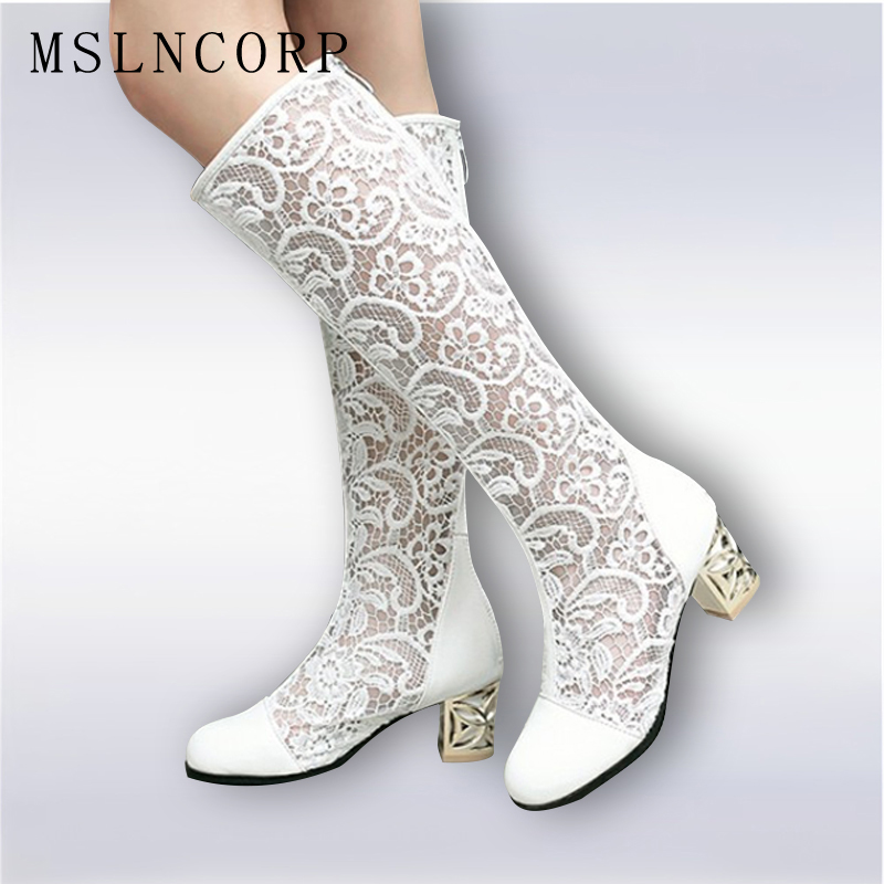 Size 34 46 New Fashion Women Knee High Boots Square heel Zipper Sexy Lace Mesh Boots Summer Cool Boots Breathable Women's Shoes