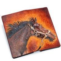 Мастер работает ручной работы Пояса из натуральной кожи Женские Кошельки Вырезка коня кошельки Для женщин Для мужчин клатч растительного д