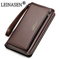 LEINASEN Brand Genuine Cow Leather Long Wallet Man High Quality Waterproof Clutch Handbags Billeteras Male Purse