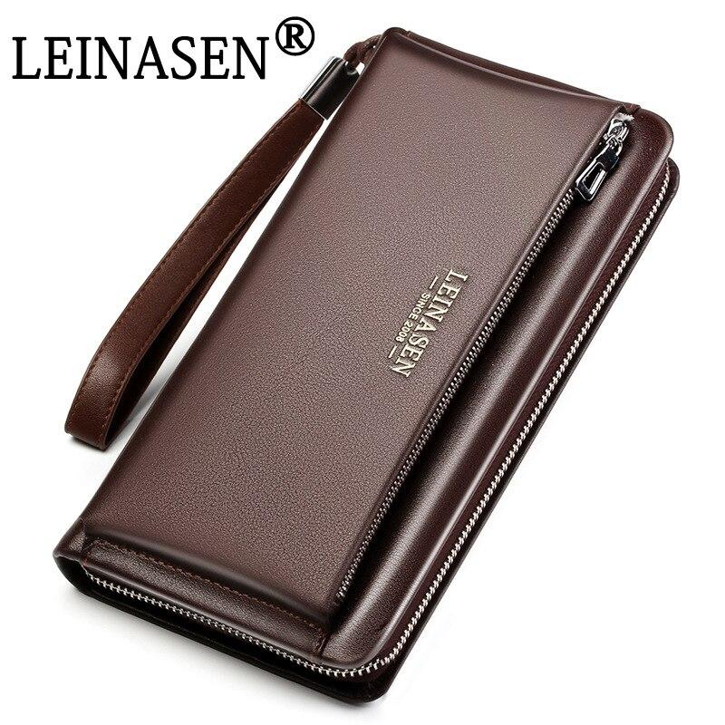 designer luxury Brand Genuine Leather Wallet Man High Quality Waterproof Clutch Handbags Male Business Men Long Wallet Billetera