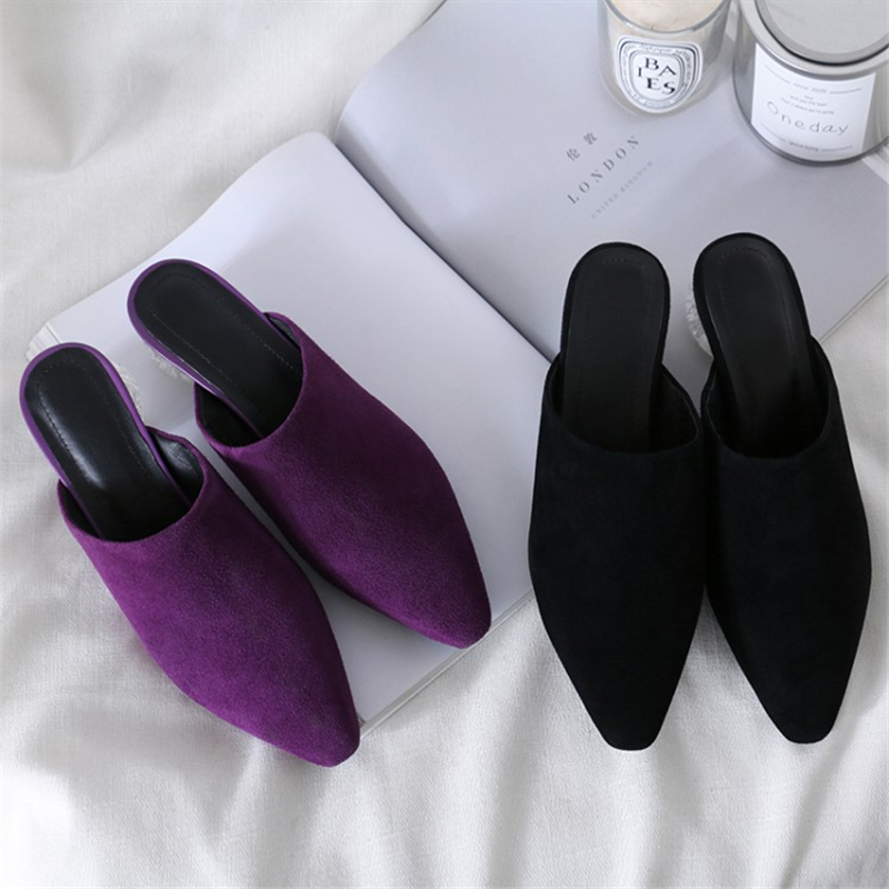 MSSTOR Kid Suede Mules Shoes Women Outside Pointed Toe Sexy Fashion Purple Summer Shoes Transparent High Heels Women Slippers