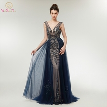 Navy Blue Mermaid Evening Dresses 2019 New Floor Length Long Robe De Soiree Luxurious Beading Sequined V Neck Formal Party Gowns