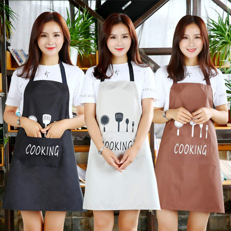 Image 5 - 1Pcs Striped Waterproof Polyester Apron Woman Adult Bibs Home Cooking Baking Coffee Shop Cleaning Aprons Kitchen Accessory 46212-in Aprons from Home & Garden