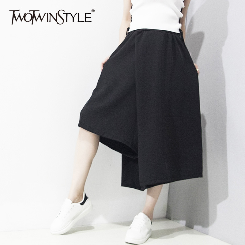 TWOTWINSTYLE Patchwork Trouser Female Asymmetrical Irregular Calf Length   Wide     Leg     Pants   2018 Spring Harajuku Clothing