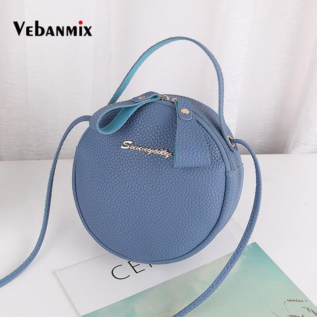 4a733d9c82e4 Vebanmix Women Bag Round Design Messenger Bag Mini Circular Crossbody Bag  2018 Soft PU Leather Fashion Handbag Bolsa Feminina