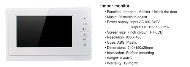 7 Inch Monitor 1V4 ID Card Access Control   Video Door Phone V70F-530