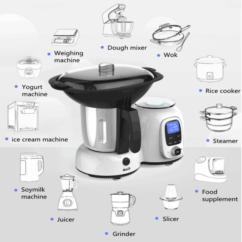220V Robot Automatic Smoke-free Kitchen Small Beauty Cooking Wok Pot Rice Cooker With Slicer Steamer Juicer Dough Mixer Function