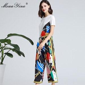Image 4 - MoaaYina ensemble de créateurs de mode printemps été femmes à manches courtes ruban T shirt + rayure imprimé large jambe cloche bas costume deux pièces