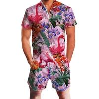 2019 Hawaiian Tiger & Flamingo Print 3D Rompers Men Jumpsuit Playsuit Harem Cargo Overalls Summer Casual Zipper Beach Men's Sets