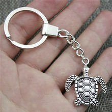 Keyring Sea Turtle Keychain 34x29mm Antique Silver Key Chain Party Souvenir Gifts For Women