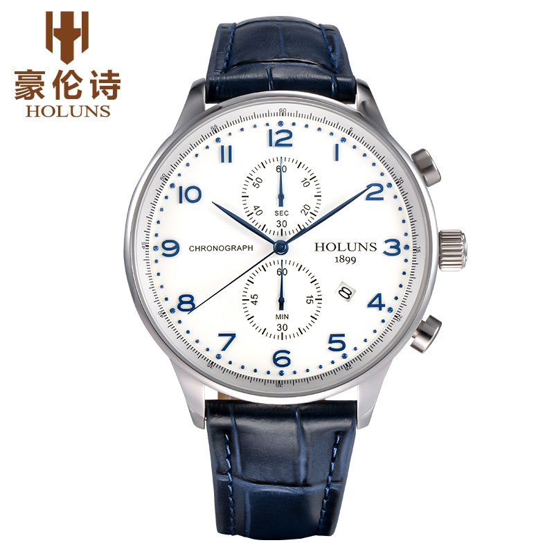 HOLUNS Original Mens Watches Luxury Brand Chronograph Men's Business Casual Leather Dress Calender Hour Clock Relogio Masculino