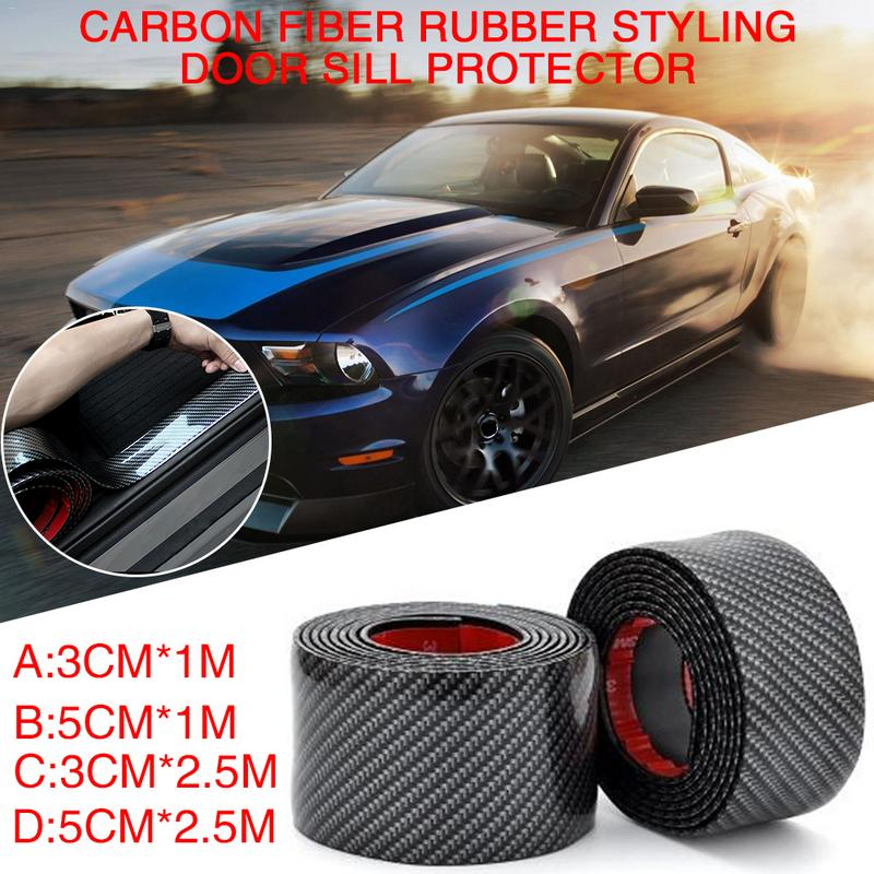 Image 2 - Car Stickers Carbon Fiber Rubber Styling Door Sill Protector Goods For Hyundai Santa Fe i40 Creta Tucson HB20 ix20 ix25-in Car Stickers from Automobiles & Motorcycles