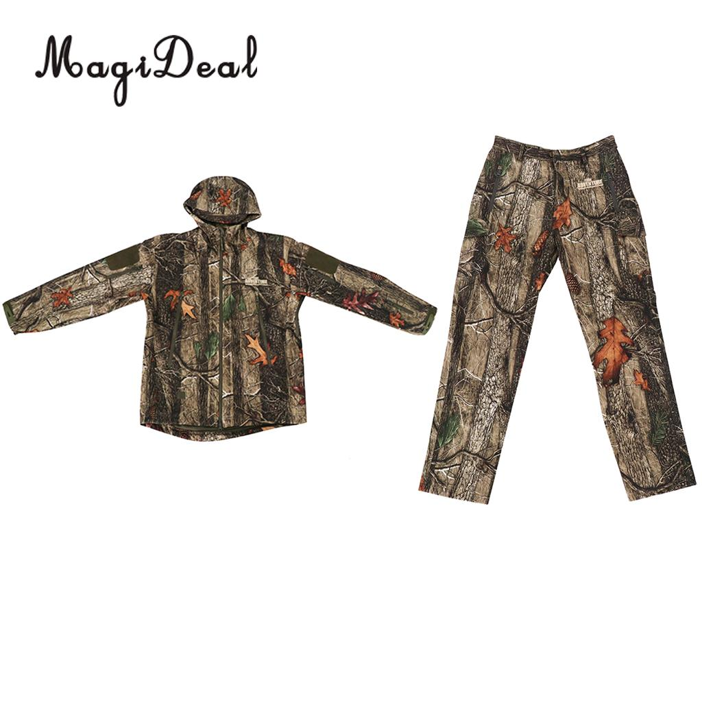 MagiDeal Men Women Unisex Warm Breathable Camo Outdoor Hunting Jacket Outwear Pants Hoodie Trousers Set M-XXL drawstring spliced camo jogger pants